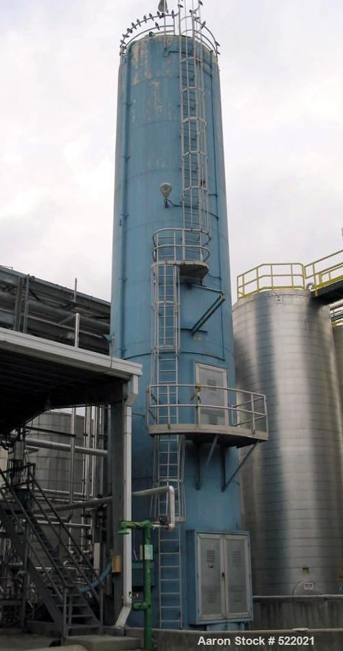 """USED: 4100 cu ft silo, 12' diameter x 60'6"""" high. Designed forhydrated lime. Approx 60 deg cone bottom. Side wall and hopper..."""