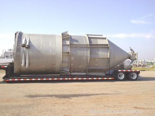 """USED: 3200 cubic foot aluminum (5052) storage bin. 12' diameter x 25'4"""" straight side. 60 degree discharge cone. Flanges on ..."""