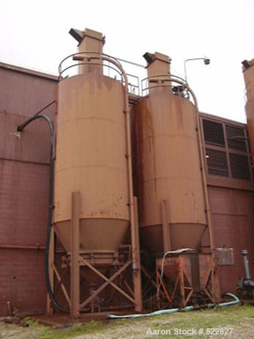 "USED: 1700 cubic foot silo with legs. 10' diameter x 18' straightside, 28' total height, 45 degree cone, 44"" height. 8"" diam..."