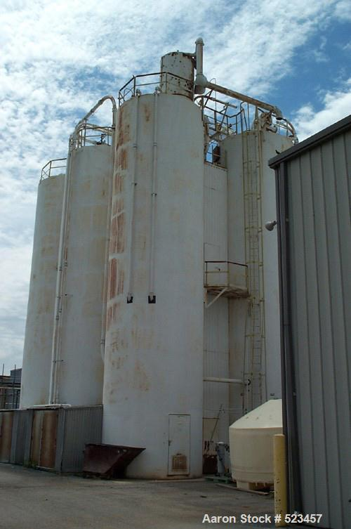 USED: Steel silo, split internaly with each internal section holding1500 cu ft, 100 hp blower motor assembly.