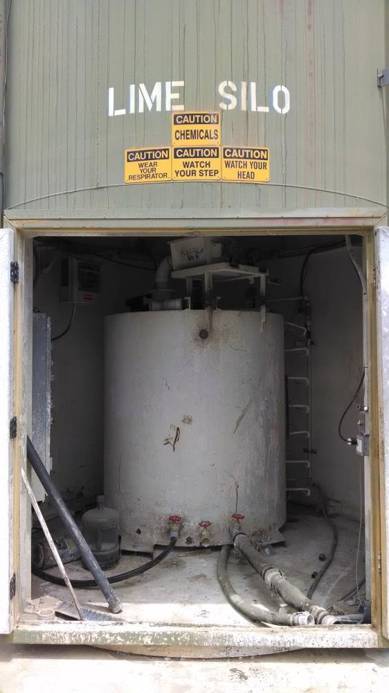 "Used- Stanco Lime Silo, Model 60-40. 28.5 Ton capacity (1,425 cubic feet), 110"" wide x 320"" tall. Includes top mounted Bag H..."