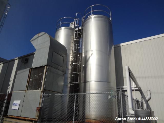 Used-APV Silo, 6,000 gallon, Stainless steel.  Dimple jacketed sides and bottom.  Top side agitator, spray balls, and bottom...