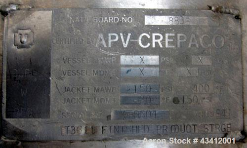 """Used- APV Crepaco Storage Silo, Size 30K, 30,000 Gallon (4009 Cubic Feet), 316L Stainless Steel, Vertical.  Approximate 136""""..."""