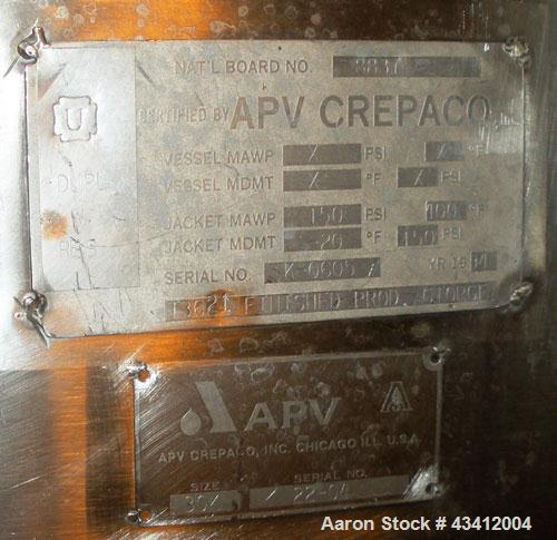 Used- TankAPV Crepaco, 30,000 Gallon, 316L Stainless Steel, Approx 11' Diameter, 44' Straight Side, Jacketed, Jacket Rated f...