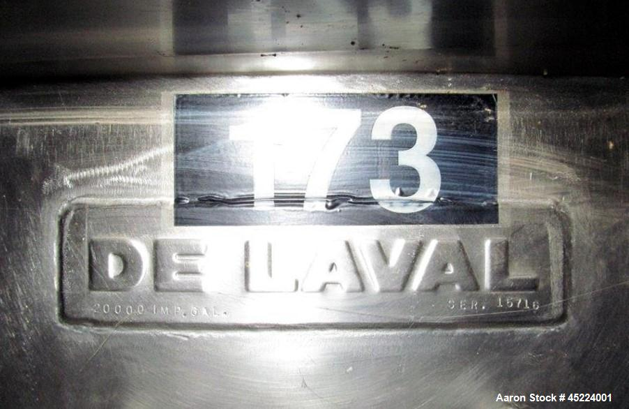 "Used- De Laval Silo, 25,000 US Gallon / 20,000 Imperial Gallon, Stainless Steel, Approximately 138"" inside diameter (144"" ou..."