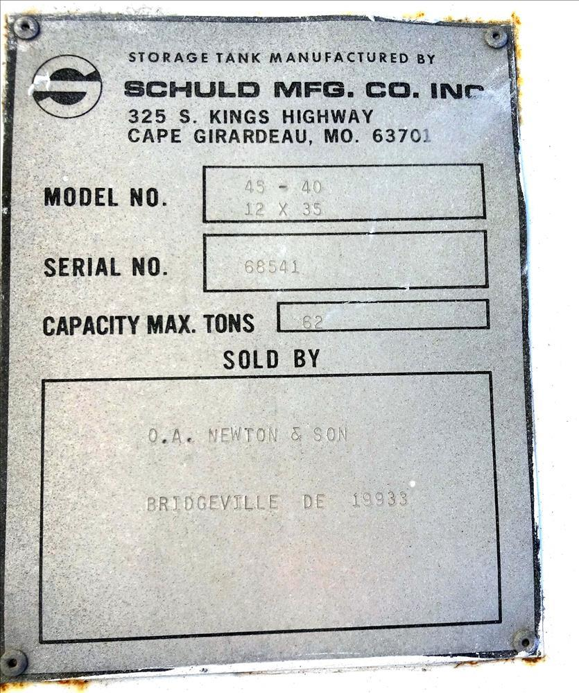 Used- Schuld Mfg Co. Silo, Model 45-40, Carbon Steel.