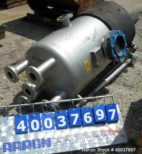 """Used- Acme Industrial pressure tank, 140 gallon, Hastelloy C-276, vertical. Approximately 28"""" diameter x 52"""" straight side, ..."""