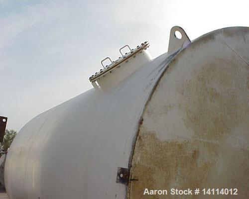 "Used-9,840 US Gallon Carbon Steel Tank. Vertical, 10' diameter x 17' high (T-T). 12"" dome top. Flat bottom with 3"" drain. To..."