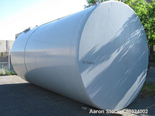 "Used- Tank, 12,300 gallon, carbon steel, horizontal. Approximately 10'6"" diameter x 19' straight side, flat ends. Side manwa..."