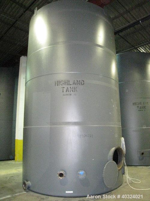 Unused: Highland tank, 16,920 gallon, carbon steel, vertical. Approximately 12' diameter x 20' straight side, slight coned t...