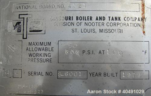 "Used- Missouri Boiler pressure tank, 85 gallon, carbon steel, vertical. Approximately 20"" diameter x 60"" straight side. 2 to..."