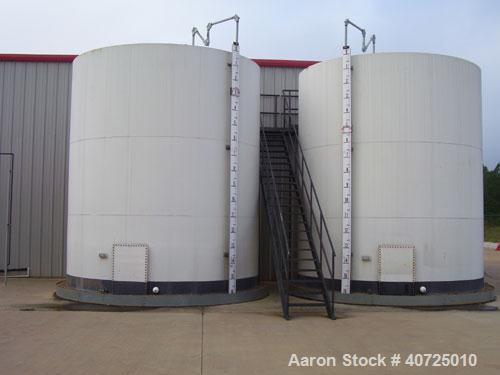 Used-Vertical tank, carbon steel, API STD 12-F. Nominal diameter 14' bottom, nominal height 16'. Shell 5/16. Epoxy lined, st...