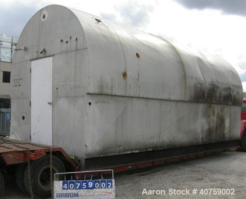 "Used- Tri-City Fabricating Tank, 10,000 gallon, carbon steel, horizontal. Approximately 120"" diameter x 220"" straight side, ..."
