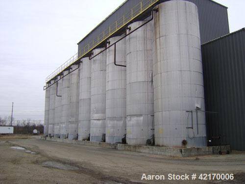 Used-Approximate 30,000 Gallon Carbon Steel Storage Tank. Vertical, approximately 12' diameter x 32' high. Flat top and flat...