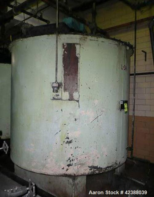"Used- Mild Steel Storage Tank Approx. 90"" Dia. X 80""H With Side Bottom Discharge & Lightnin Agitator"