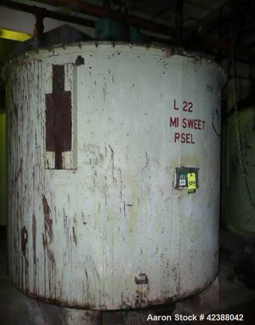 "Used- Mild Steel Storage Tank Approx. 90"" Dia. X 80""H With Side Bottom Discharge & Lightnin Agitator"