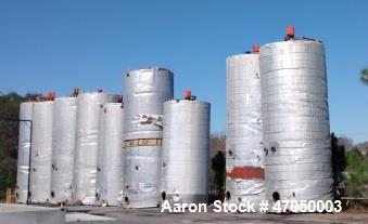Used- Vertical 25,000 Gallon Carbon Steel Tank. 30' high x 12' diameter, insulated. Includes Pro-Quip Agitator, Model 7ZGS25...