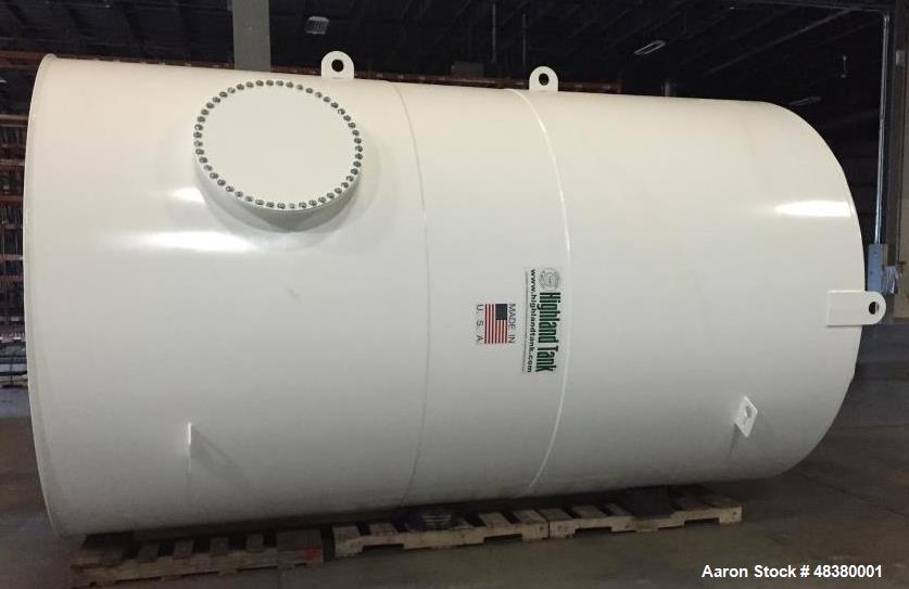 "Unused 5,000 Gallon Vertical Water Tank; Mfg. by Highland Tank; Carbon Steel; 8' Diameter x 13'4"" Long."