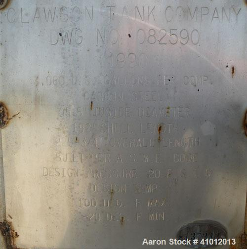 Used- Clawson Tank Company 2 Compartment Pressure Tank, 6,160 gallons, 3,080 gallons per compartment, carbon steel, horizont...