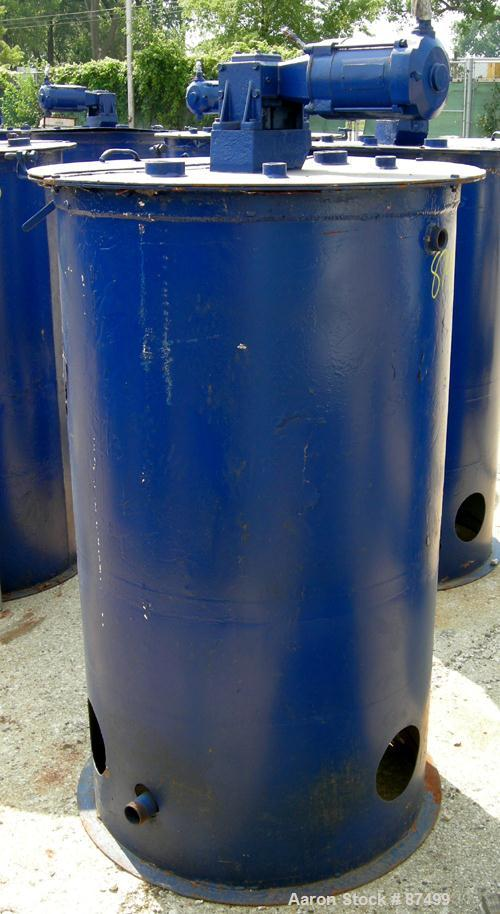 "USED: Graco Mix Tank 125 gallons, carbon steel, vertical. 30"" diameter x 40"" straight side. Flat bolt on top with 1/3 hinged..."
