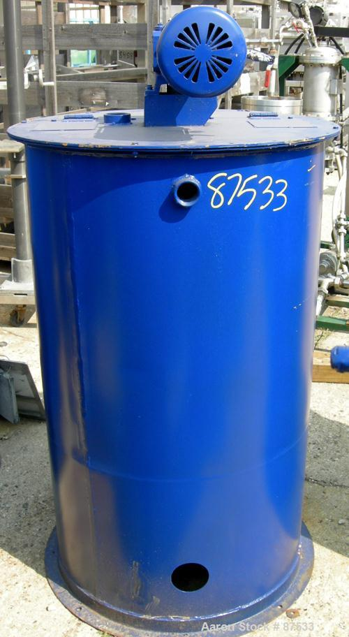 "Used- Graco Mix Tank, 100 Gallon, Carbon Steel, Vertical. 30"" Diameter x 33"" straight side. Flat bolt on top with 1/3 hinged..."
