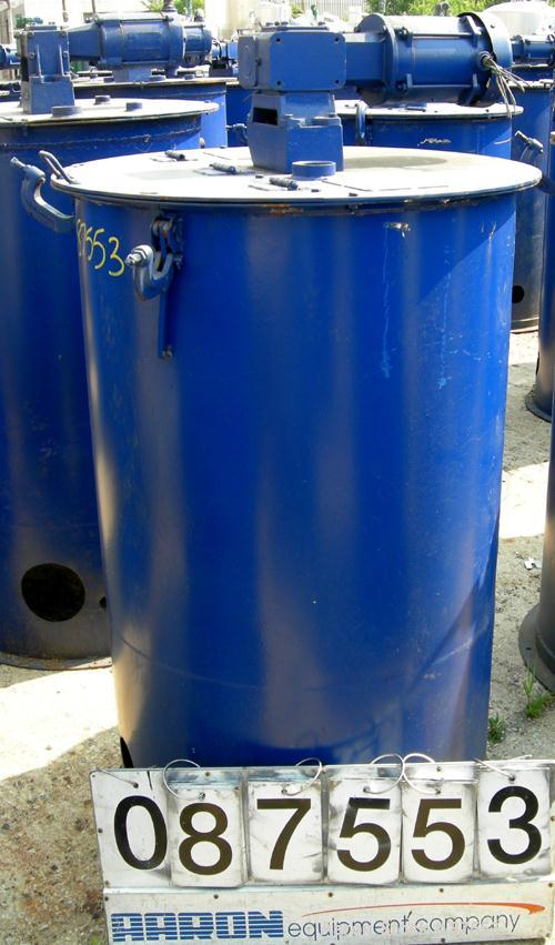 """USED: Graco Mix Tank, 100 gallon, carbon steel, vertical. 30"""" diameter x 33"""" straight side, flat bolt on top with 1/3 hinged..."""