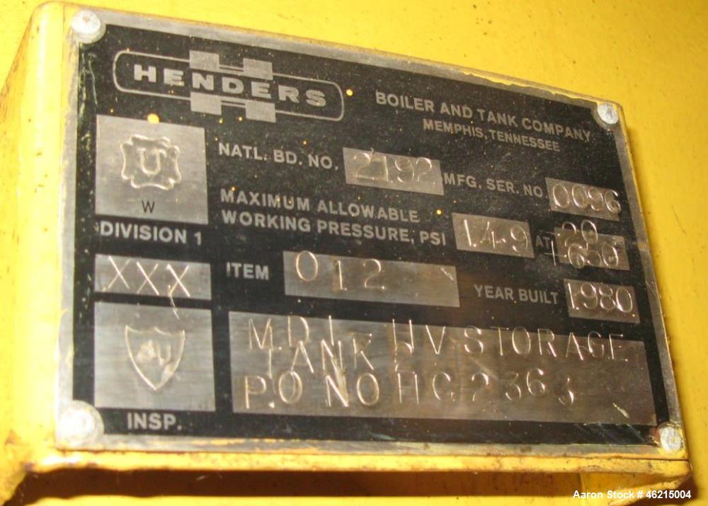 Used- Henders Boiler & Tank Company Pressure Tank