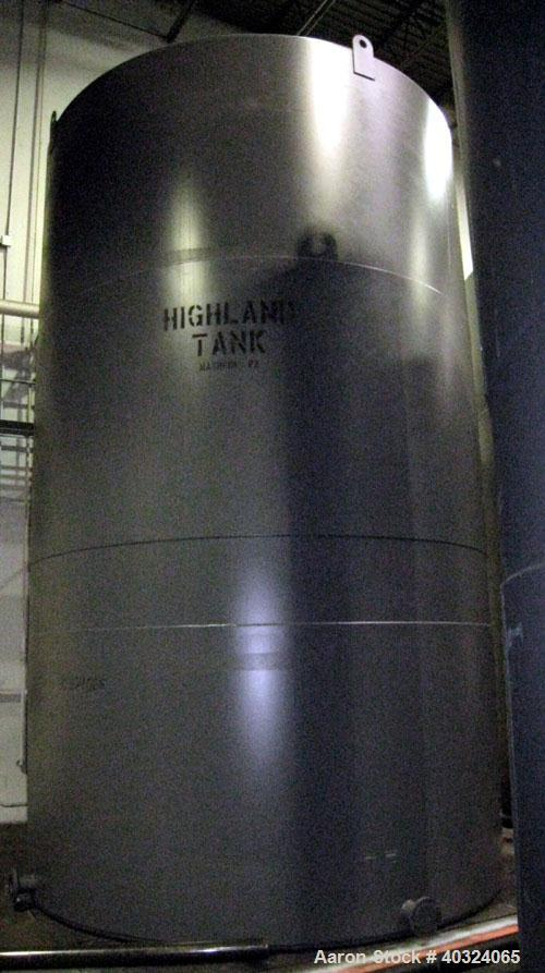 Unused- Highland Tank, 16,920 Gallon, Carbon Steel, Vertical. Approximately 12' diameter x 20' straight side, slight coned t...