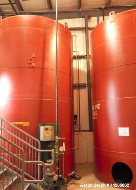 """Used- Highland Tank 8000 Gallon Vertical Carbon Steel, Single Wall Storage Tank. Flat top and cone bottom heads, shell 1/4""""...."""