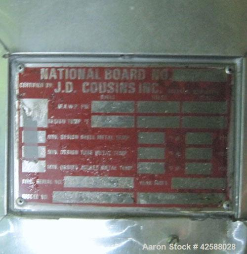 """Used- J.D. Cousins Pressure Tank, approximately150 gallon, carbon steel. 30"""" Diameter x 48"""" straight side. Internal rated 2..."""