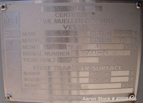 "Unused- Mueller Pressure Tank, 75 Gallon, Model ""F"", SA-516 GR 70 carbon steel, vertical. 24"" diameter x 47"" straight side, ..."