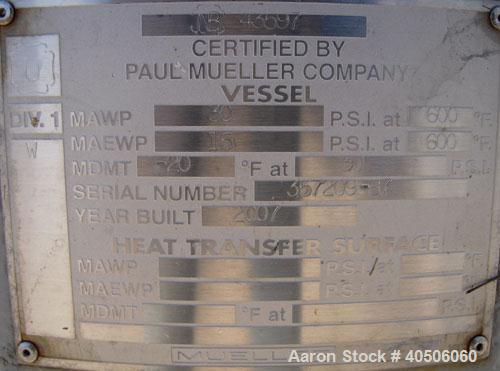 "Unused- Mueller Pressure Tank, 75 Gallon, Model ""F"", SA-516 GR 70 carbon steel, vertical. 24"" diameter x 40"" straight side, ..."