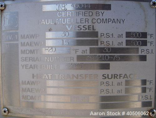 "Unused- Mueller Pressure Tank, 75 Gallon, Model ""F"", SA-516 GR 70 carbon steel, vertical. 24'' diameter x 47'' straight side..."