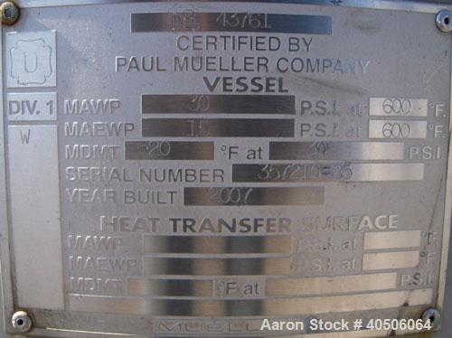 "Unused- Mueller Pressure Tank, 75 Gallon, Model ""F"", SA-516 GR 70 carbon steel, vertical. 24'' diameter x 40'' straight side..."