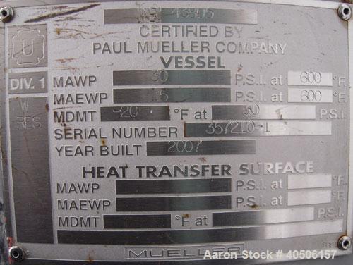 "Unused- Mueller Feed Flash Drum Pressure Tank, 80 gallon, model ""F"", carbon steel, vertical. 18'' diameter x 57'' straight s..."