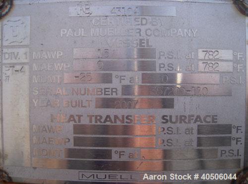 "Unused- Mueller Pressure Tank, 4500 Gallon, Model ""H"", SA-516 GR 70 Carbon Steel, Horizontal. 96"" diameter x 120"" straight s..."