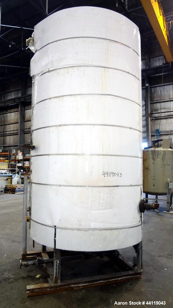 "Used- Tank, 2300 Gallon, Lined Carbon Steel, Vertical. Approximate 72"" diameter x 130"" straight side, dished top and bottom...."