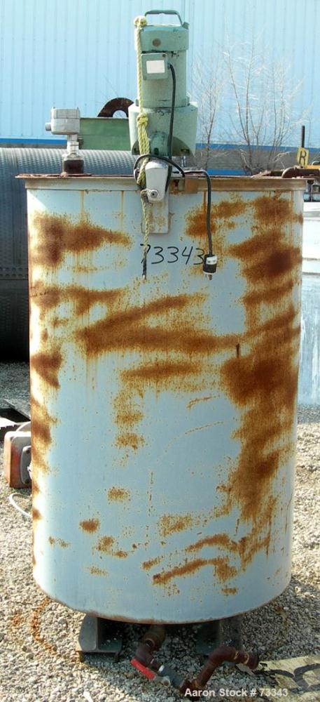 "Used- Plencon Tank, 225 Gallon, Carbon Steel, Vertical. 36"" Diameter x 54"" straight side. Flat open top with (2) 1/2 covers,..."