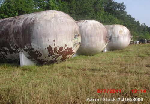 "Used-20,000 Gallon Riley Beaird Tank, 142 psi @ 200 deg F, 10'10"" diameter, 33'3-5/8"" long, saddles welded to shell, 16"" man..."
