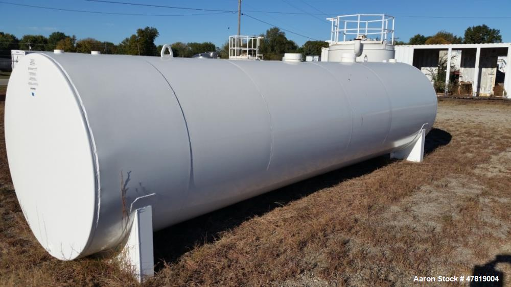 Unused- 3,500 Gallon Tank. Dual wall, UL, saddle tank, 360 degree re-pad added on one end, fittings off center.