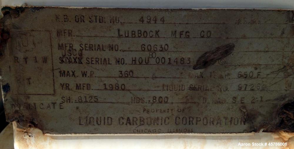 Used- Lubbock 50 Ton Portable CO2 Storage Tank.