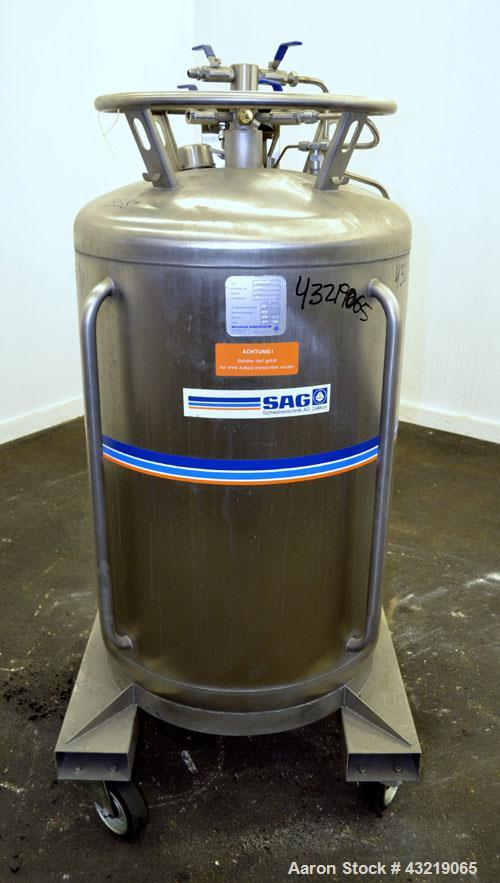 Used- 317 Liter Stainless Steel Messer Griesheim Liquid Nitrogen Storage Tank