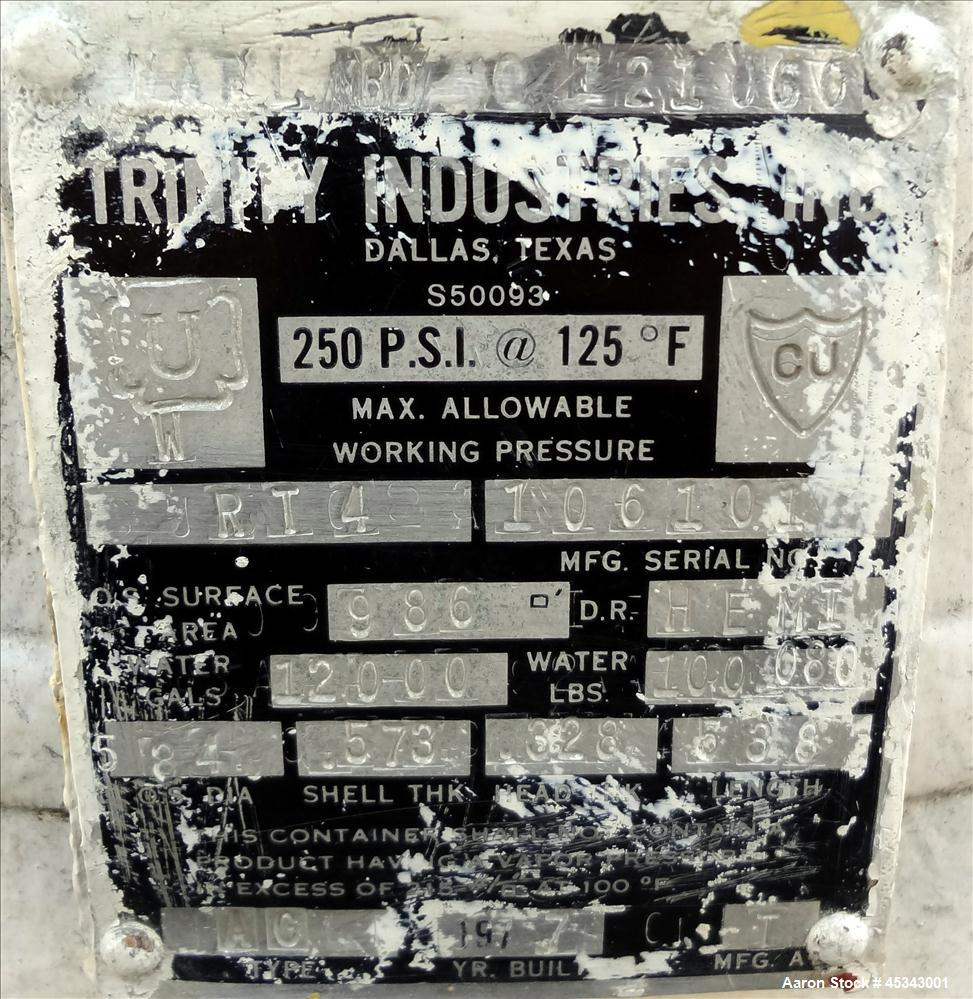 Used- 12,000 Gallon Carbon Steel Trinity Industries Pressure Tank