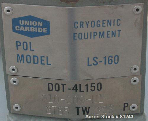 """Used- Union Carbide Cryogenic Nitrogen Tank, 42 Gallon, Model LS-160, Carbon Steel, Vertical. Approximately 18"""" diameter x 3..."""