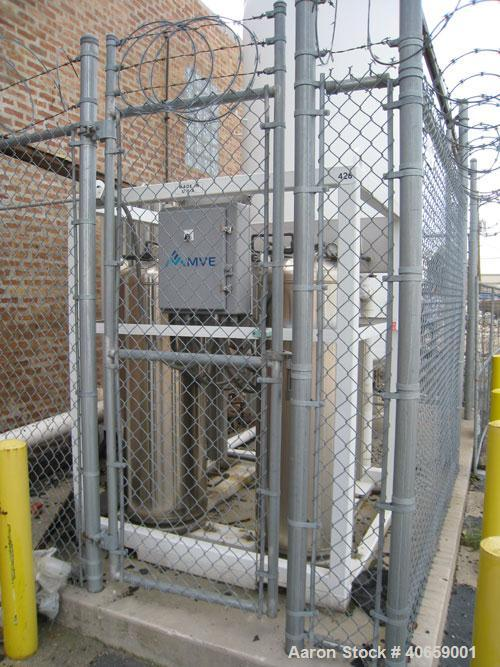 Used-Liquid Nitrogen (LNG) / Oxygen Tank (LOX) and Vaporizer. MVE Inc Tank, model VS-1500-NS-250. Rated full vacuum/ 250 psi...