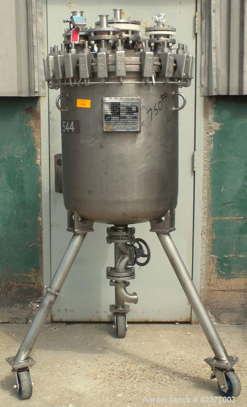 "Used- DeDietrich Glass Lined Pressure Receiver, 50 gallon, 3008 blue glass internal, NI200 nickel outside, vertical. 22-1/2""..."