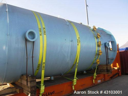 Unused-Vertical Glass Lined Storage Tank, PCW 11,900 Gallon. 87 psig or full vacuum at -20 deg F to 350 deg F, 9119 dark blu...