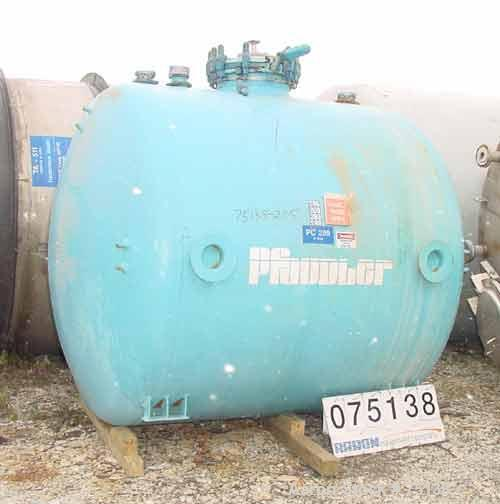 """Used- Pfaudler Chemstore Closed Glass Lined Tank, 2000 Gallon, Model CH-84-2000, Horizontal. 4024 Glass. 84"""" Diameter x 72"""" ..."""