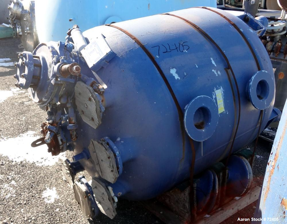 """Used- Pfaudler Glass Lined Receiver Tank, 350 Gallon, Model CVC48-350-50, 9115 Blue Glass, Vertical. 48"""" Diameter x 38"""" stra..."""