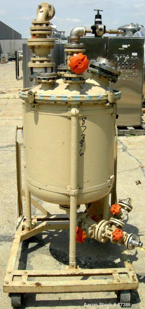 "Used- Pfaudler Glass Lined Pressure Tank, 50 Gallons, Vertical. 24"" Diameter x 24"" straight side. Dish bolt on top, dish bot..."
